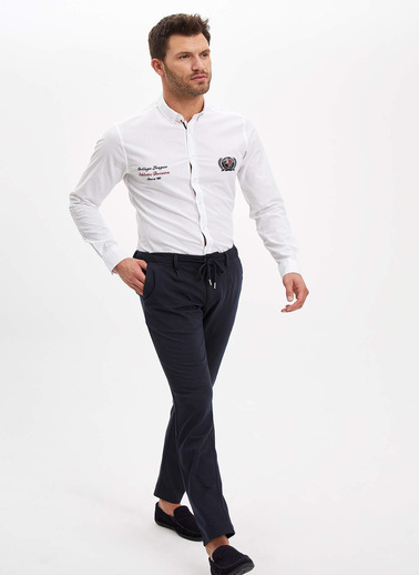 DeFacto Slim Fit Pamuk Gömlek Beyaz